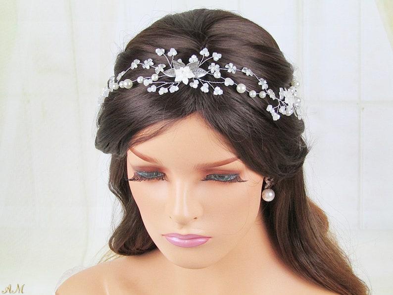 Bridal Silver Hair Vine /& Earrings Set Bohemian Wedding Accessories Set Wedding Earrings and Headpiece Opal Wedding Hair Accessories