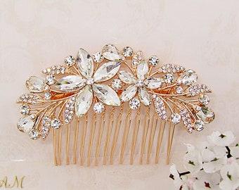 Rose gold bridal hair comb, rose gold wedding headpiece, crystal hair comb, hair accessories, bridal hair piece, rhinestone hair comb