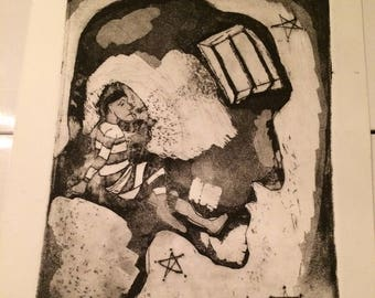 Trapped Within Yourself with Stars Intaglio Print
