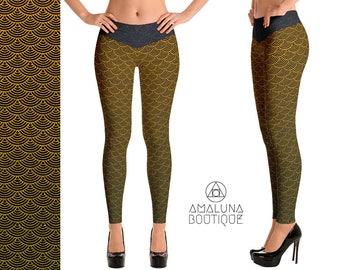Gold scales leggings, Mermaid Leggings, Scale Leggings, Festival Leggings, Printed Tights, Yoga Leggings, Mermaid Yoga Pants, Scale pattern