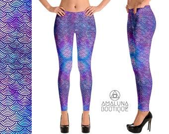 Purple Mermaid Leggings, Yoga Leggings, Scales Leggings, Hippie Pants, Womens leggings, Festival Leggings, Printed Tights, Workout Leggings