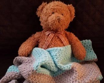 Blue & Gray Crochet Baby Blanket