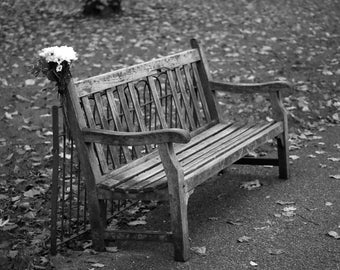 Park Bench with Flowers, Hyde Park, London, UK