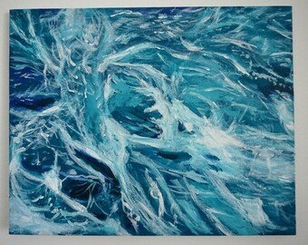 Blue waves- Original painting- Abstract painting