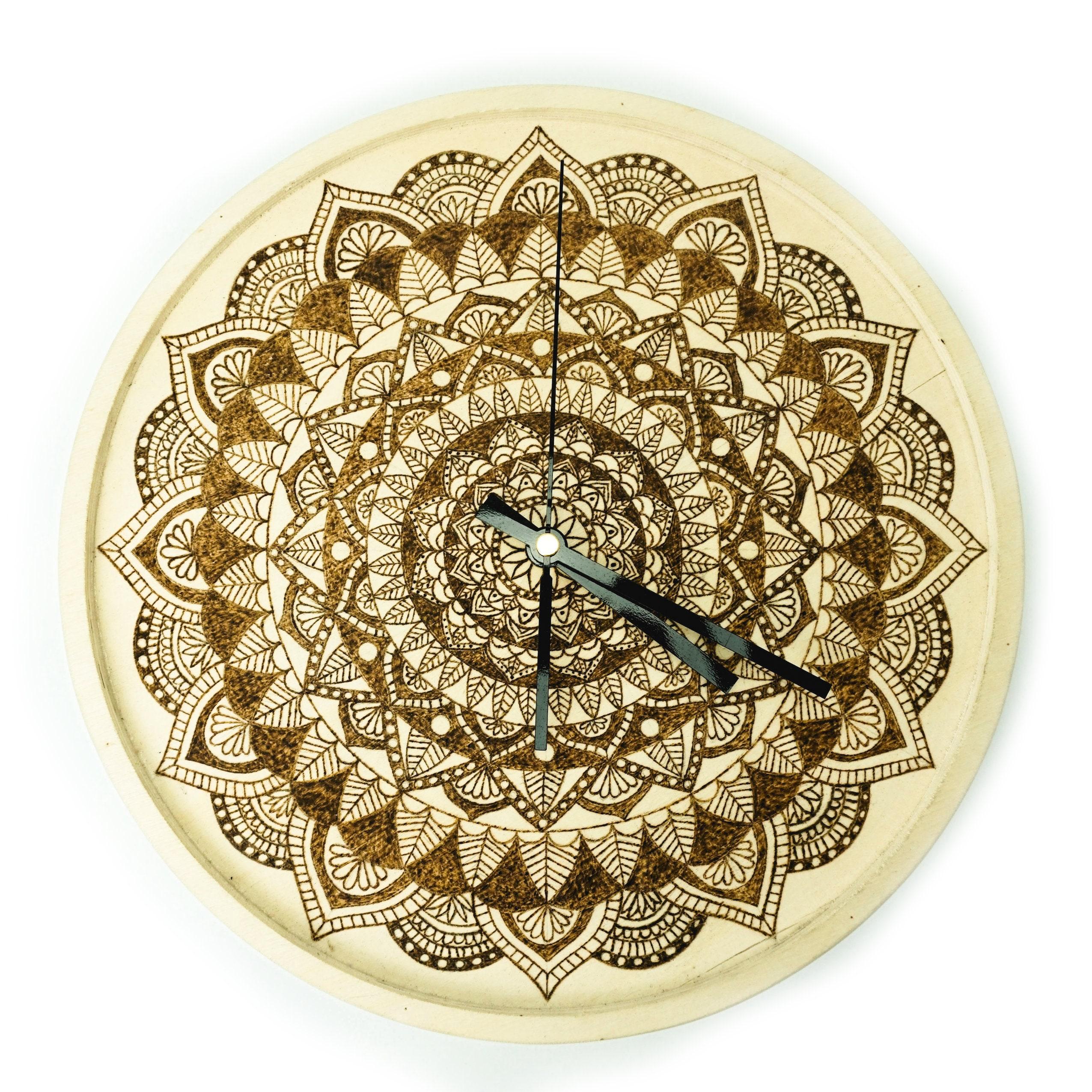 Wooden Mandala Clock Kitchen Clock Wood Burning Art Clock | Etsy