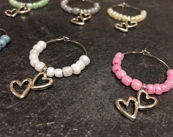 Double hearted wine glass charms