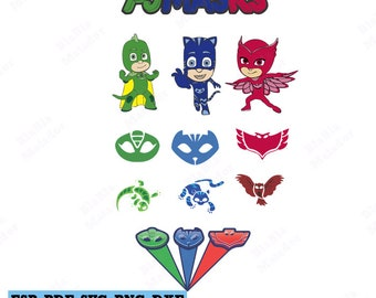 PJ Masks Svg PJ Masks Clipart Silhouette Svg Eps Dxf Png Silhouete Cricut  Catboy Files Cameo Gekko Vector Digital Download Gift Logo Totem