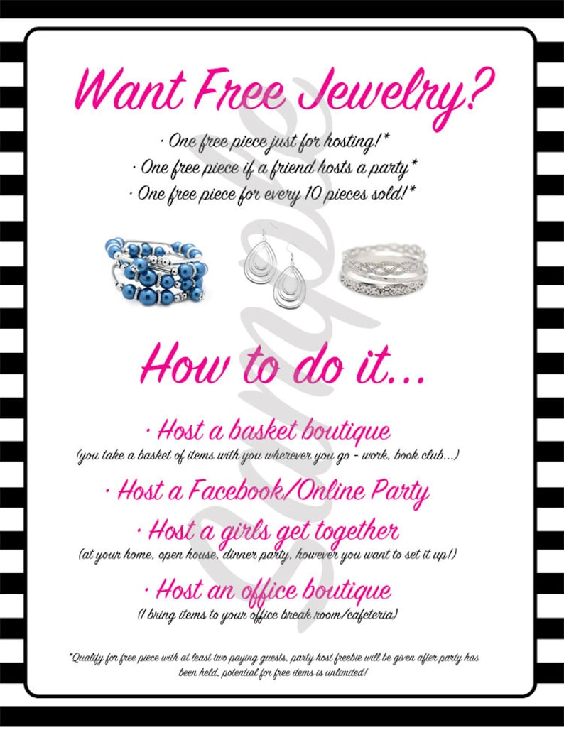8 5x10 Free Jewelry Flyer - Host a Party INSTANT DOWNLOAD