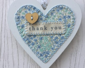 Hand-stitched Wooden Heart (Thank You) made by Purple Tulip