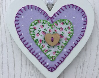 Hand-stitched Wooden Heart made by Purple Tulip