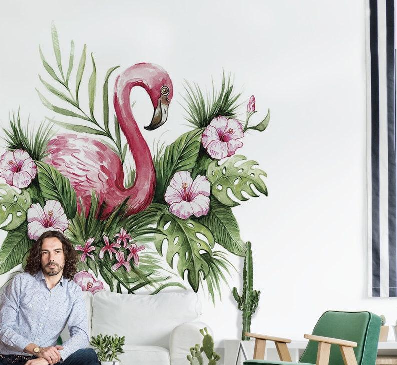 Mural Flamenco Mural Floral Papel Pintado Tropical Mural Etsy