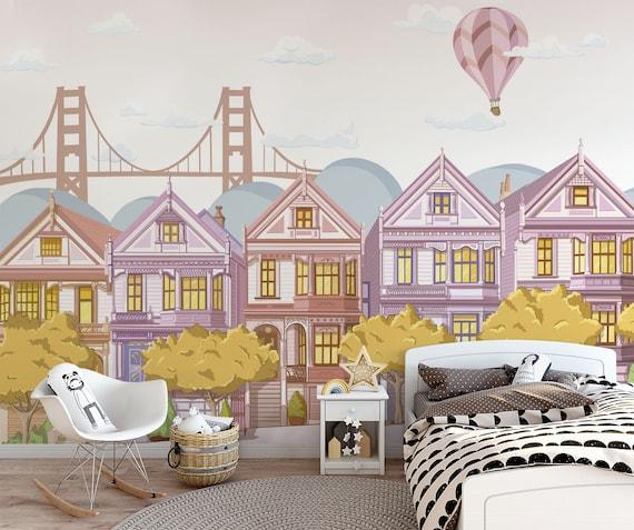 FOTOTAPETE Kinder Kind Tapete, Fototapete Kind Landschaft, San Francisco  San Francisco, Wandbild Golden Gate in San Francisco Häuser, Häuser