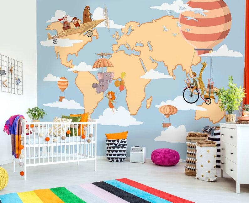 children wallpaper animals and map nursery mural animals flying children/'s mural world map