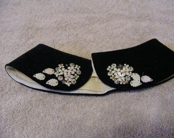 Vintage black velvet collar with sequins flowers and mother of pearl leaves