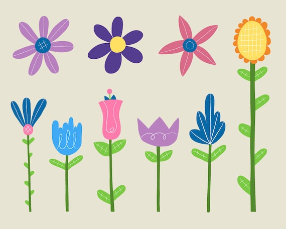 Royalty Free Spring Flower Images Summer Clipart Flower Etsy