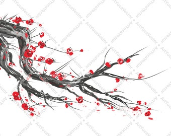 Realistic sakura branch / Cherry Blossom Digital Design Illustration / Spring Season / Art vector / Instant Download