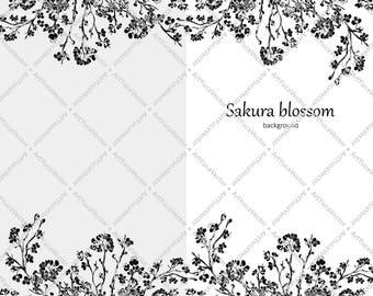 Silhouette sakura branch / Cherry Blossom Digital Design Illustration / Spring Season / Art vector / Instant Download