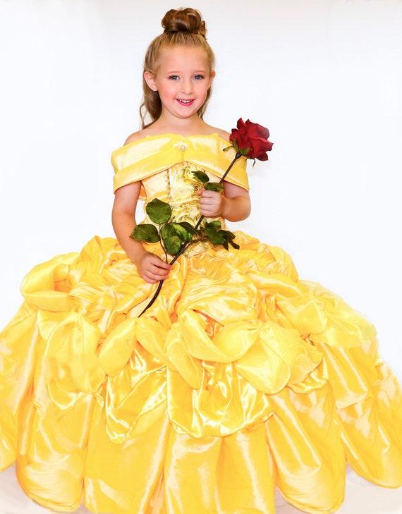Princess Belle Costume Girls Ballgown Etsy