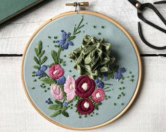 Botanical Embroidery, Hand Embroidered Hoop Art, Embroidery Wall Art, Wildflowers, Paper succulent Garden