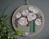 Flower Embroidery Modern Art Embroidered Peony Painted Hoop Wall Hanging