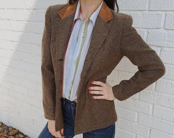 Vintage Camel Earth Tone Textured Tweed + Suede Blazer