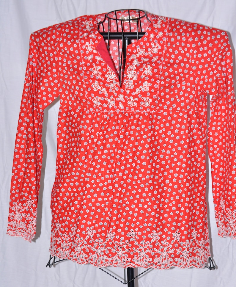 1970/'s Flower Child Tunic Top with Bell Sleeves
