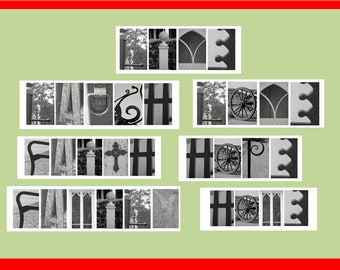Creative Landscape Letter Photo Art, Black & White Wall or Frame Art From Nature That Can Spell Anything