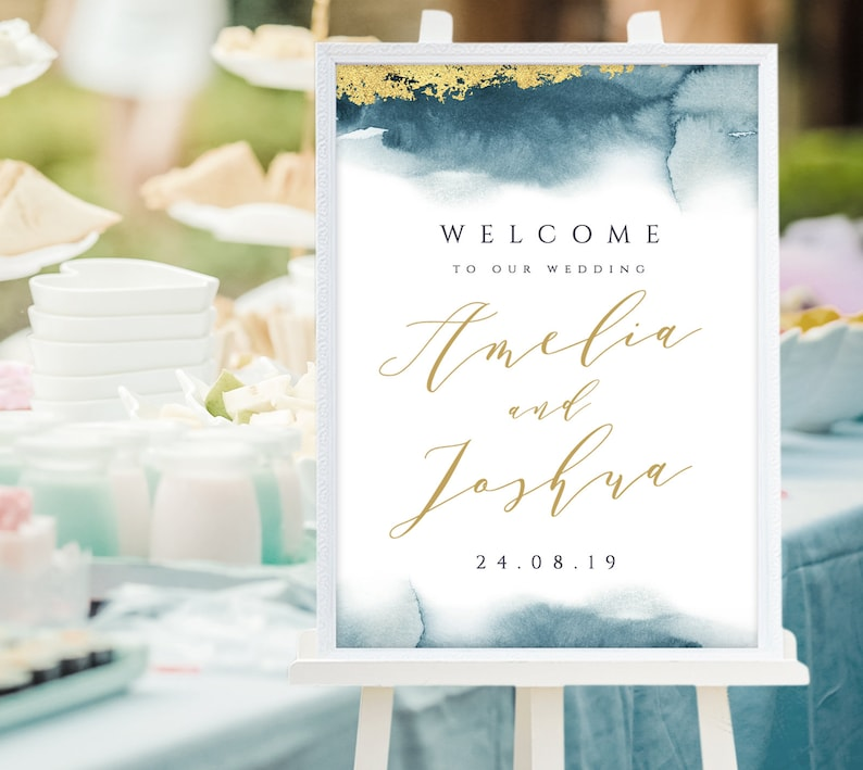 Wedding sign with dark teal watercolor background and faux gold foil brush,  Modern calligraphy wedding reception, Editable in Templett, DTW