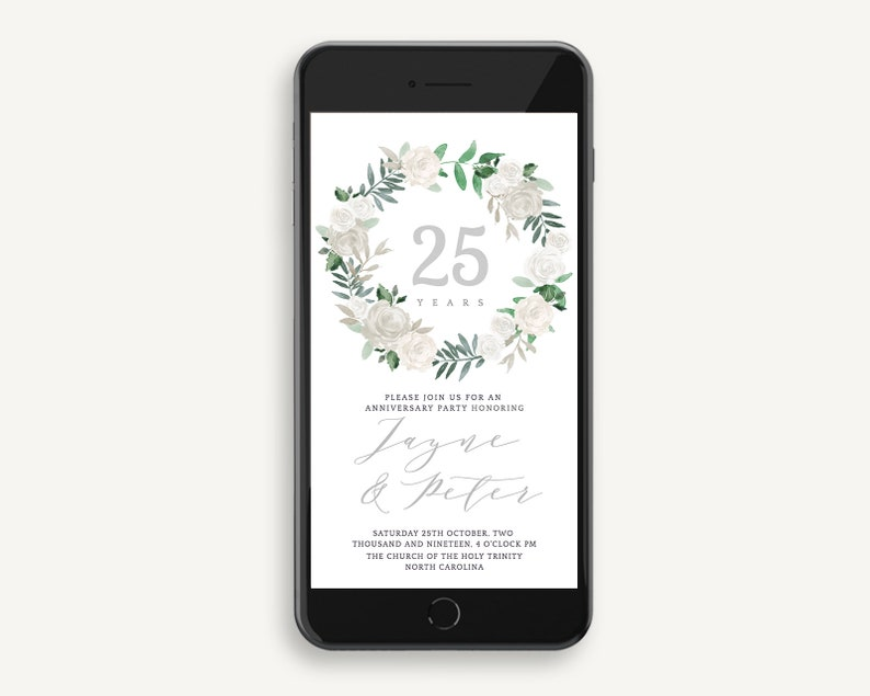 Silver Electronic Wedding Anniversary Invitation White Rose Watercolor Wreath Silver Digital Invite Editable Templett Sms For Smartphone