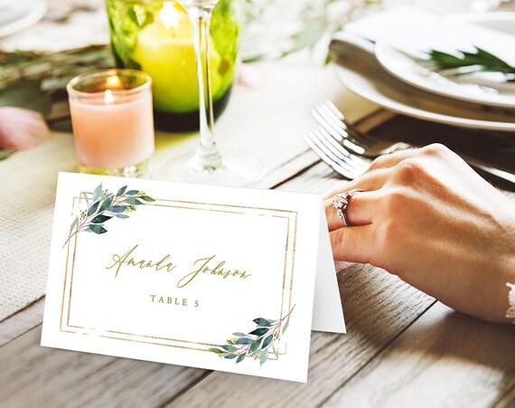 Geometry Wedding place cards I Gold frame Table escort cards I | Etsy