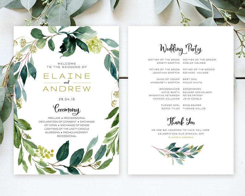 Greenery Wedding rustic Program Wedding ceremony program with eucalyptus greenery Rustic wedding fan Fan editable Template ETHG