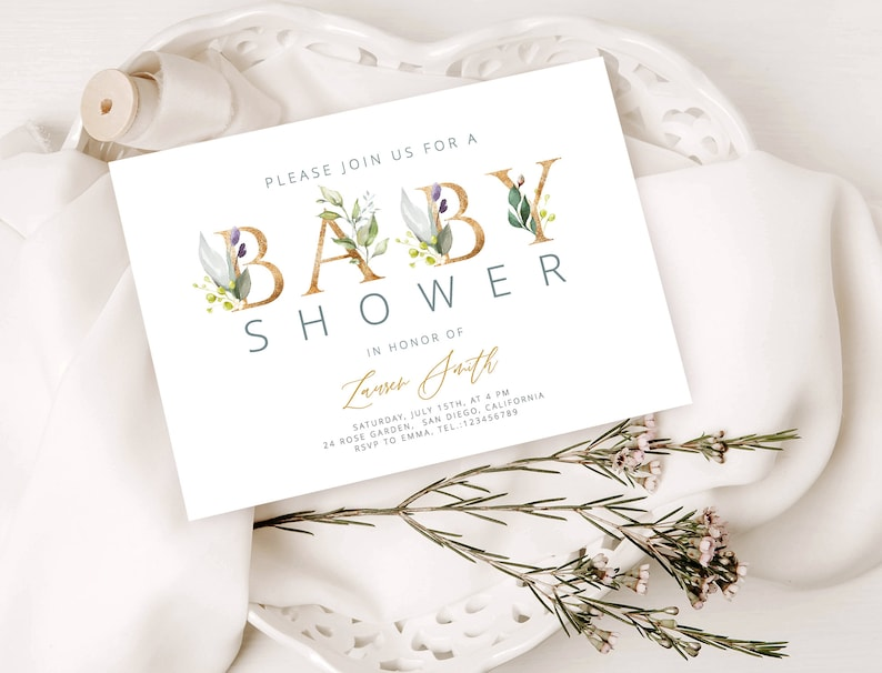 Baby Shower Invitation Card Template In Gold And Green With Foliage Decoration Floral Invite Diy Printable Templett Editable Template Lsm