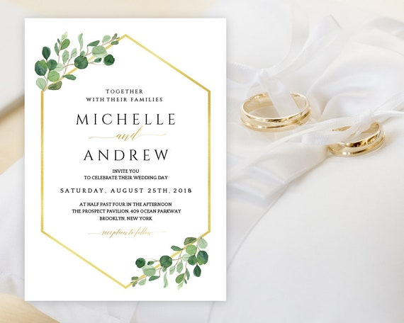 Eucalyptus Gold Geometric Wedding Invitation Card Geometric Golden Wedding Printable Invitation Editable Template Instant Download Eggi