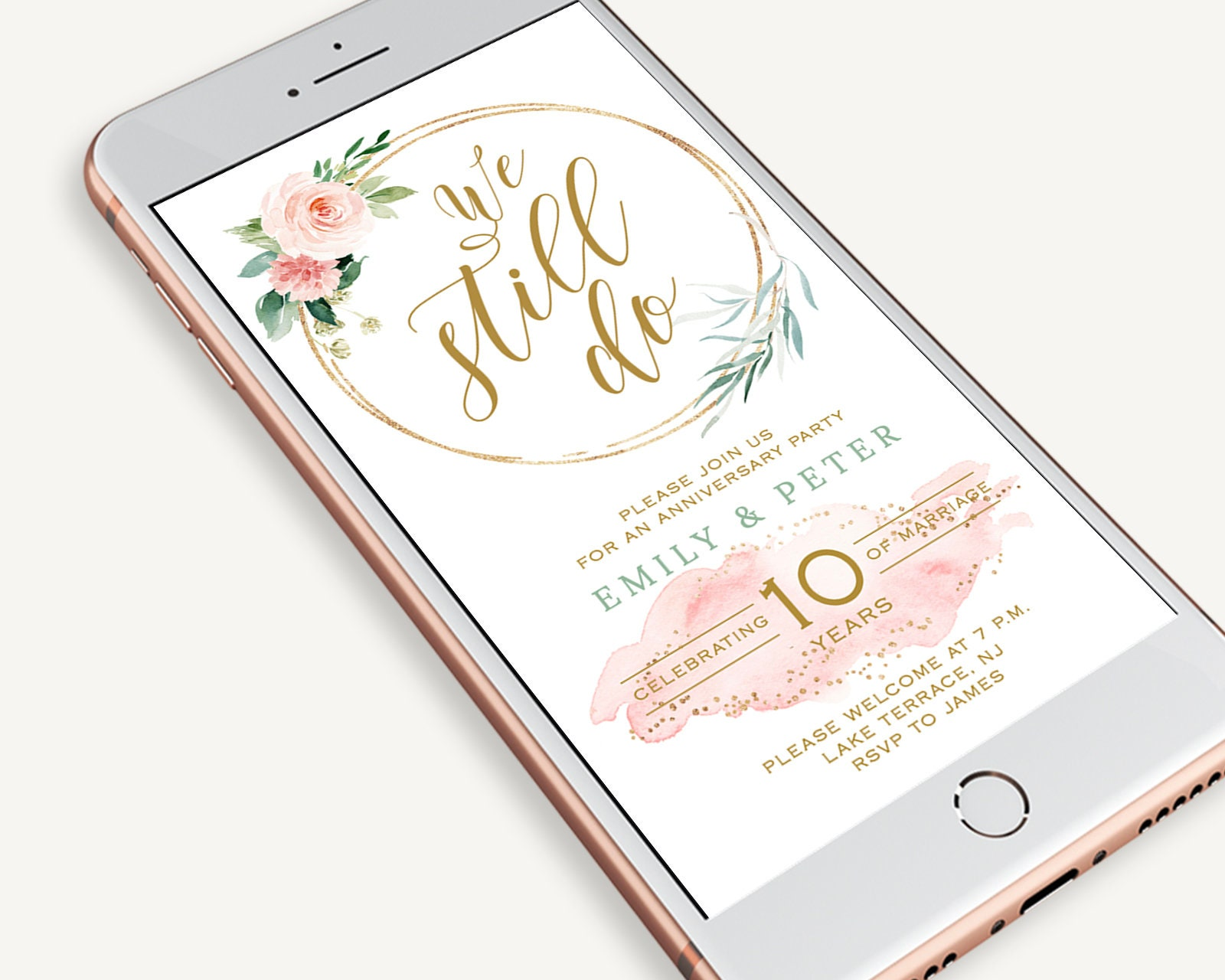 Electronic Wedding Anniversary Invitation Blush Pink And Gold Glitter Invite Dusty Pink Editable Template Templett Sms Smartphone Ethr