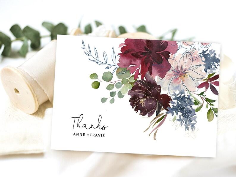 Floral thank you printable card Oxblood Editable Templett Navy blue Thanks card template plum WFB Burgundy wedding thank you card