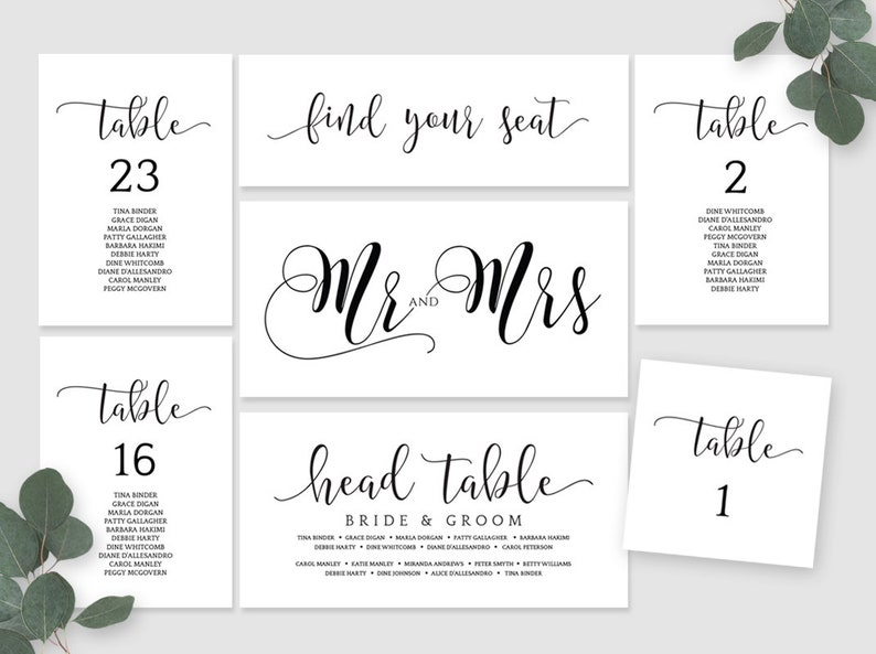 Wedding Seating Chart Table Cards Place Card Mr And Mrs Card Etsy