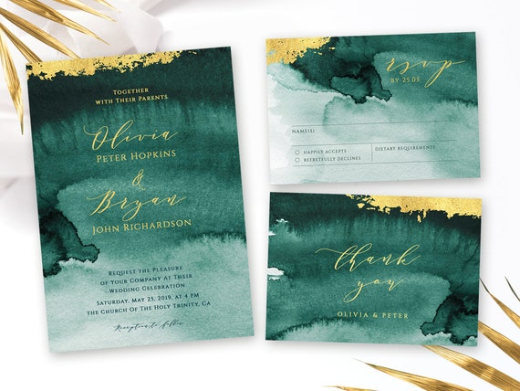 Emerald Green Wedding Suite With Modern Calligraphy And Artistic Watercolor Background Rsvp Thank You Templates Editable In Templett Dtw