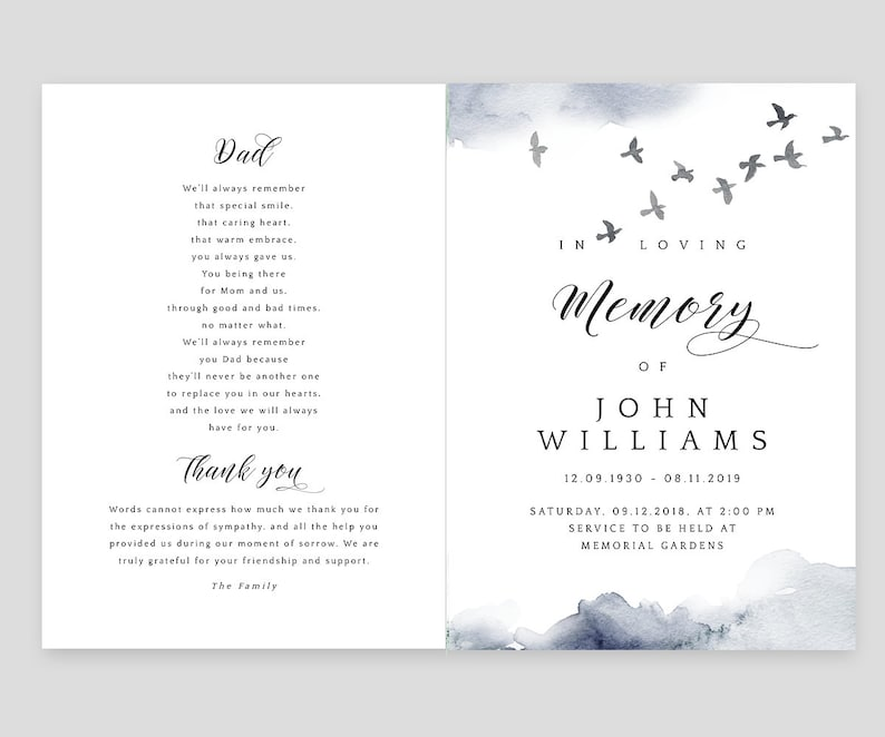 Funeral program template and Order of Service with flying birds Celebration of life Printable Editable Corjl In loving memory BWC