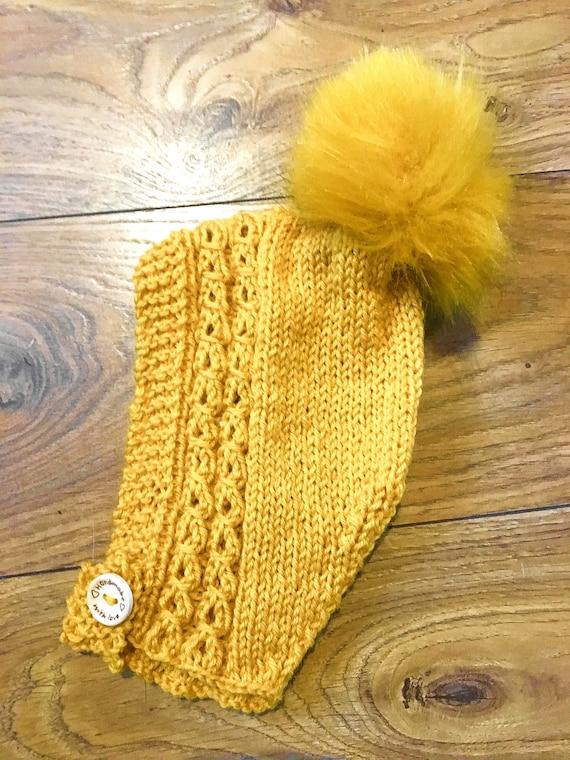 cffd6fd82f6 Scandi pixie pompom hat bonnet mustard baby boy girl 3-6