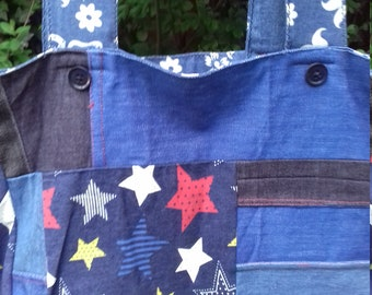 Reversible denim patchwork/butterfly chambray tote bag hand made in England