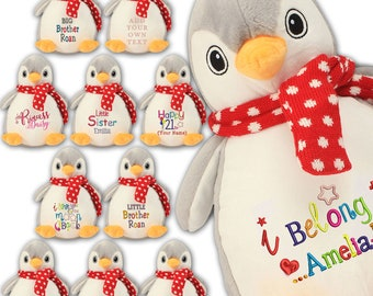 caac6bf09 Personalised Super Soft Cuddly Penguin, Embroidered Teddy, Custom Bears  Embroidered with text, Easter/Birthday/New baby/Christening Gifts