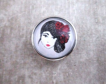 Miss Shabby-button for bracelets or chain motif miss Wonderful-change button