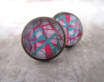 Miss Shabby-earrings shabbychic pink Blue Tükis White mix