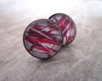 Miss Shabby-earrings shabbychic Burgundy pink white mix