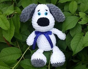 Crochet dog Plush dog Handmade toys White puppy Crochet puppy Crochet toy Amigurumi dog Plush crochet dog Stuffed animal Dog Puppy Soft toy