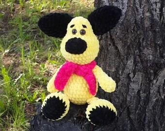 Crochet dog Plush dog Handmade toys Yellow puppy Crochet puppy Crochet toy Amigurumi dog Plush crochet dog Stuffed animal Dog Puppy Soft toy