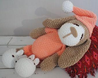 Crochet sleepy dog Plush dog Handmade toy Crochet puppy Crochet toy Sleepy puppy Plush crochet dog Stuffed animal Puppy in pajamas Amigurumi