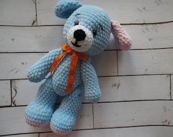 SOLD!Crochet dog Plush dog Handmade toys Blue puppy Crochet puppy Crochet toy Blue dog  Plush crochet dog Stuffed animal Dog Puppy Soft toys