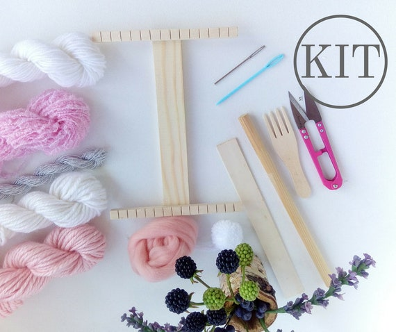 Diy Weaving Kit Small Weaving Loom With Tools Yarn Set Merino Wool Instruction Travel Tapestry Loom Make Your Own Woven Wall Art Blush