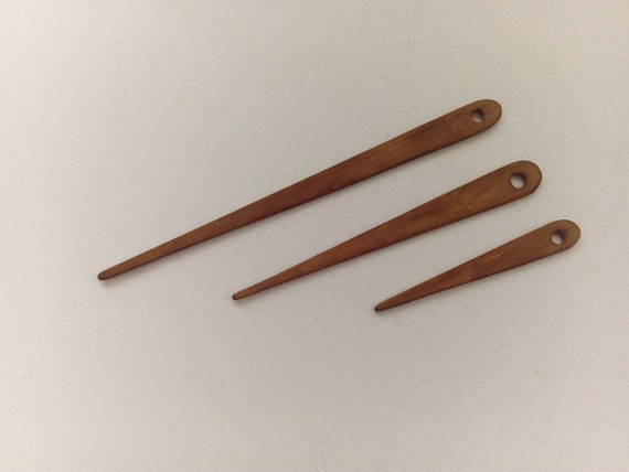 Weaving Needles Tapestry Weaving Tools Loom or Nalbinding Needles Set of 3 Walnut Finish from 2 to 14 inches